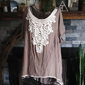 Umgee Boho Crotchet Chest Blouse